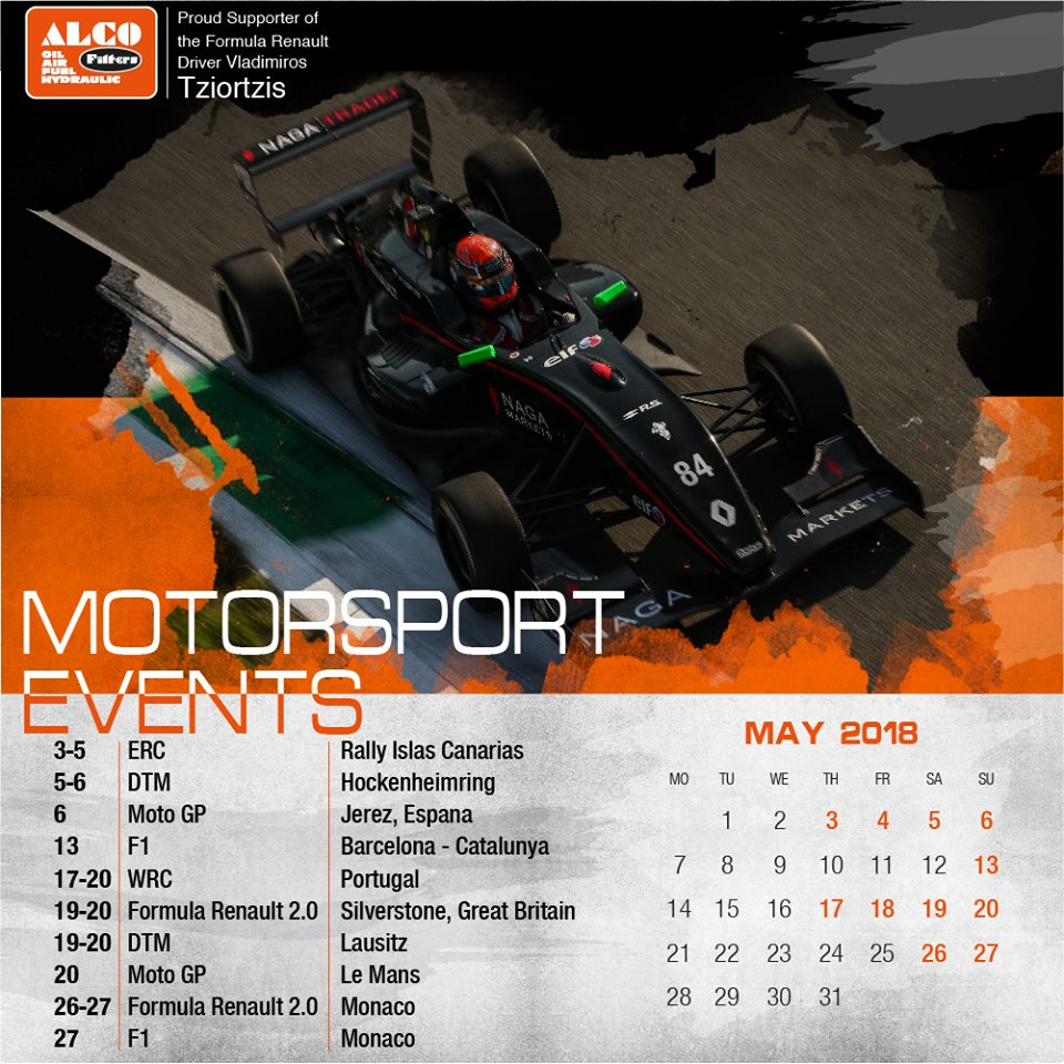Racing Calendar May : Alco filters may race calendar